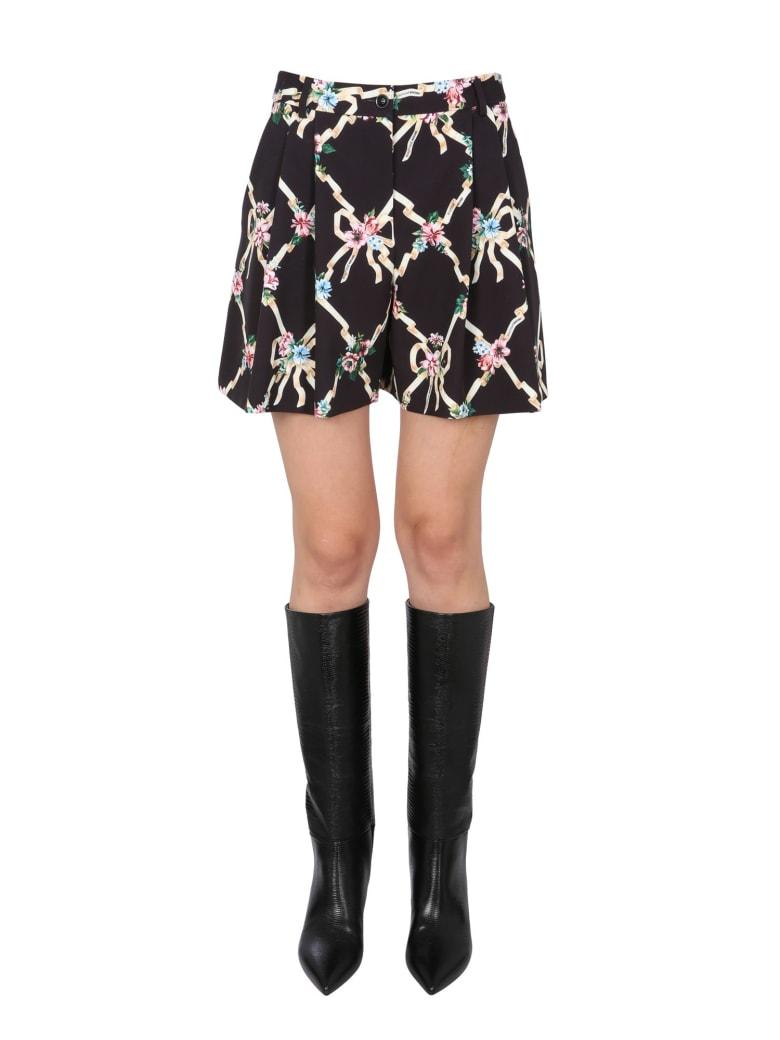 Boutique Moschino Cady Floral Argyle Shorts - NERO