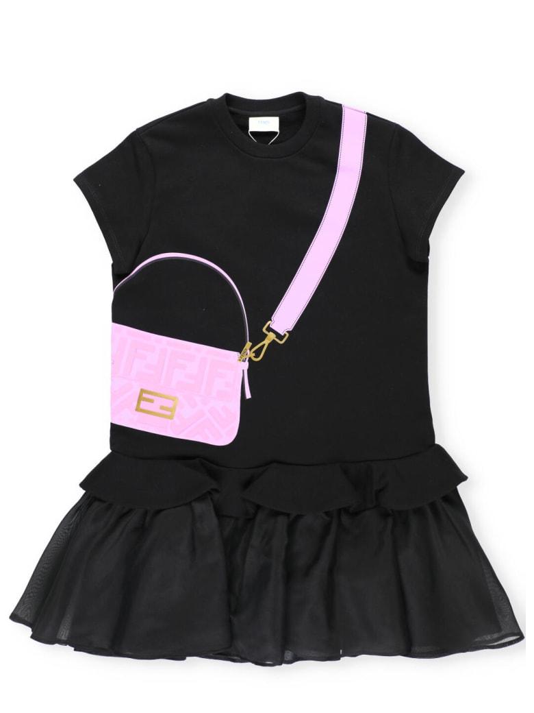 Fendi Plush Cotton And Organza Junior Dress - BLACK+CANDY
