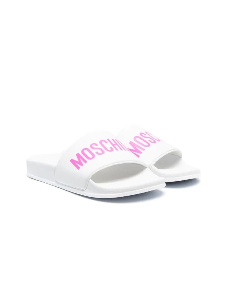 Moschino Slippers With Moschino Print - Bianco-fucsia
