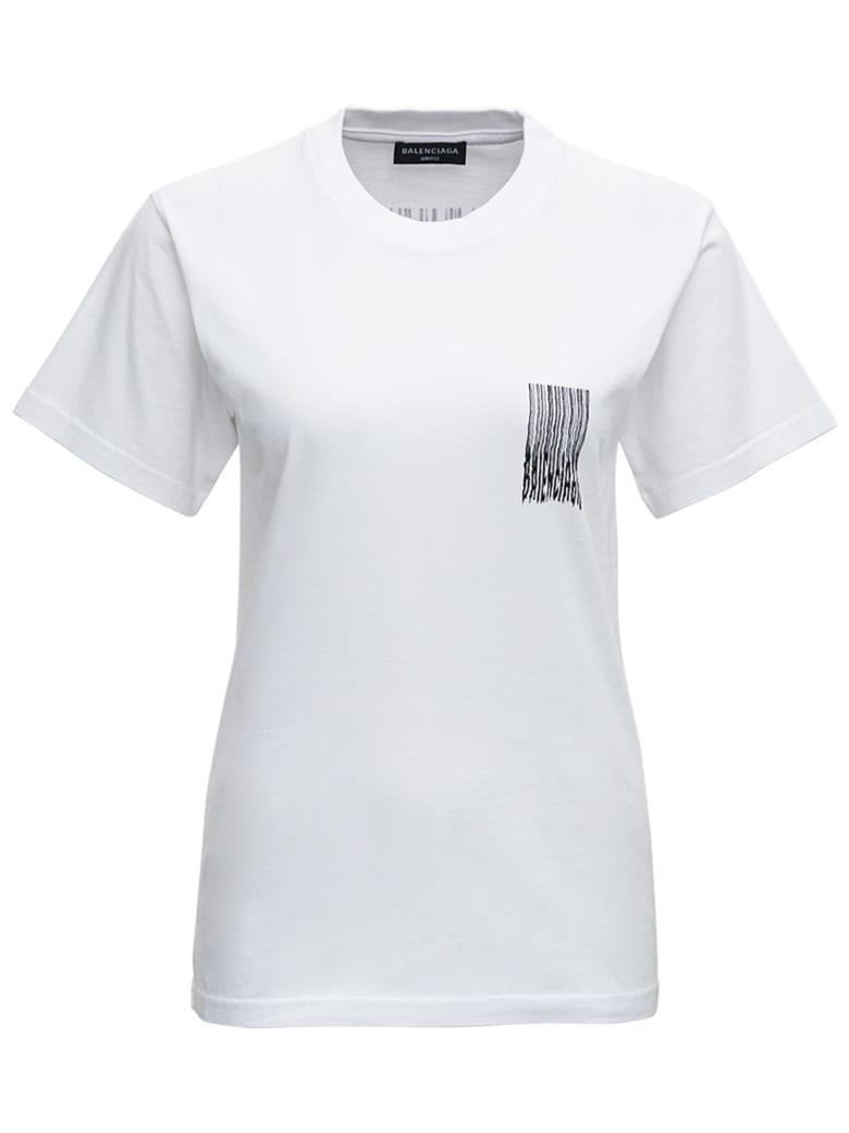 Balenciaga Barcode  White Cotton T-shirt - White