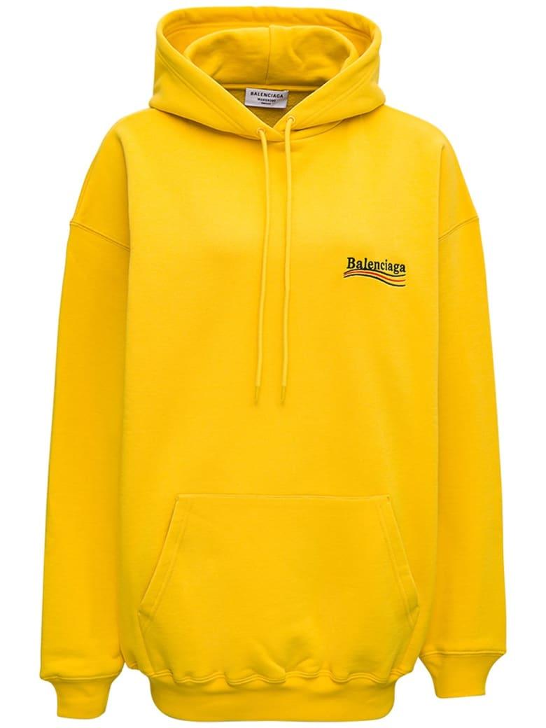 Balenciaga Yellow Cotton Hoodie With Logo - Yellow