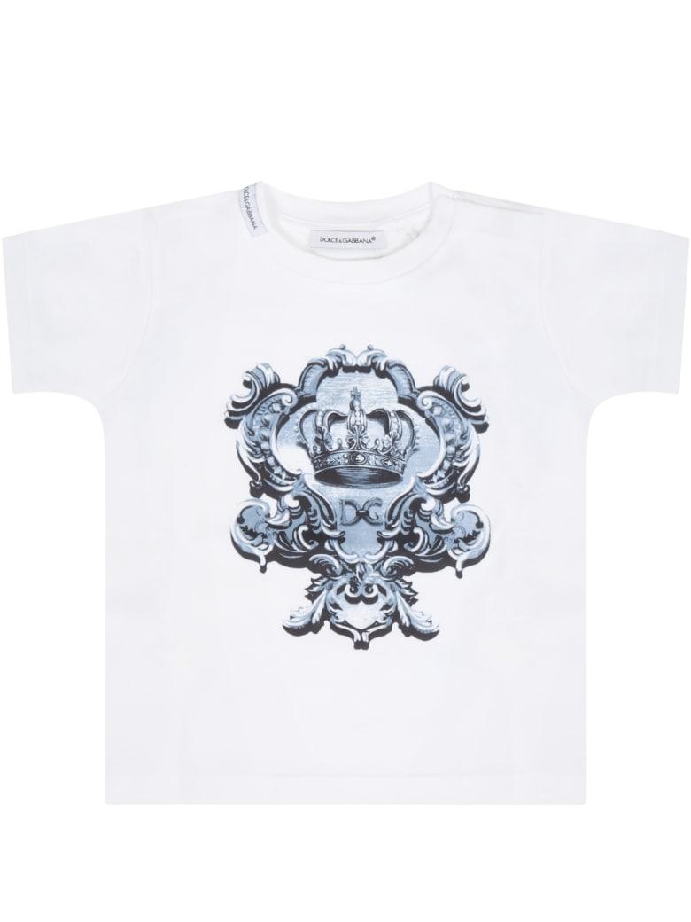Dolce & Gabbana White T-shirt For Babykids With Crown - White