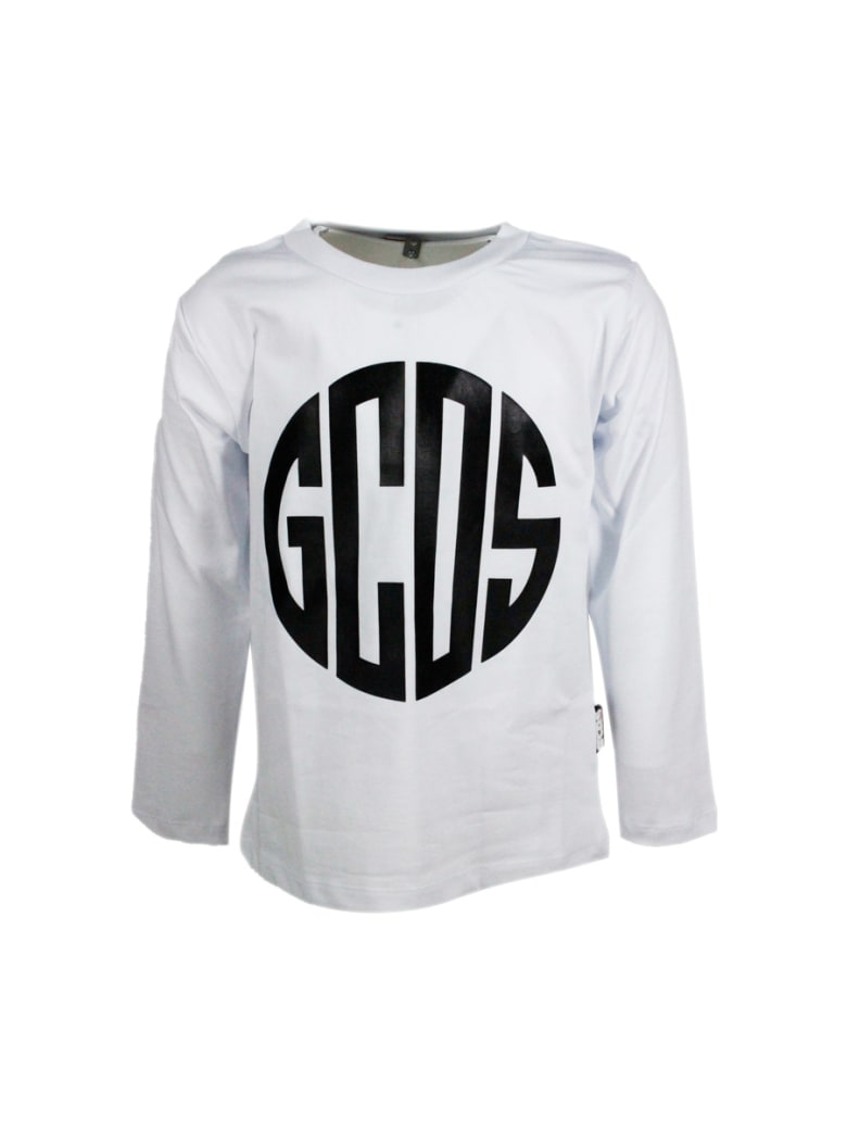 GCDS Long-sleeved Round-neck Cotton T-shirt With Logo Print - White