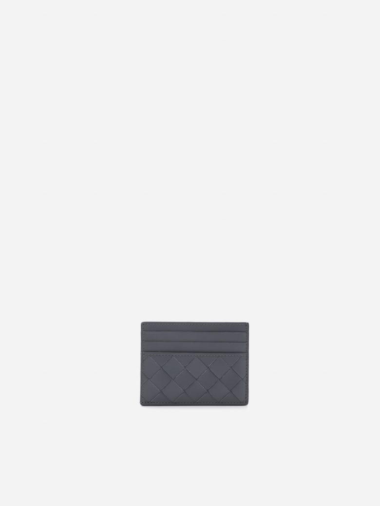 Bottega Veneta Leather Card Holder With Woven Pattern - Thunder silver