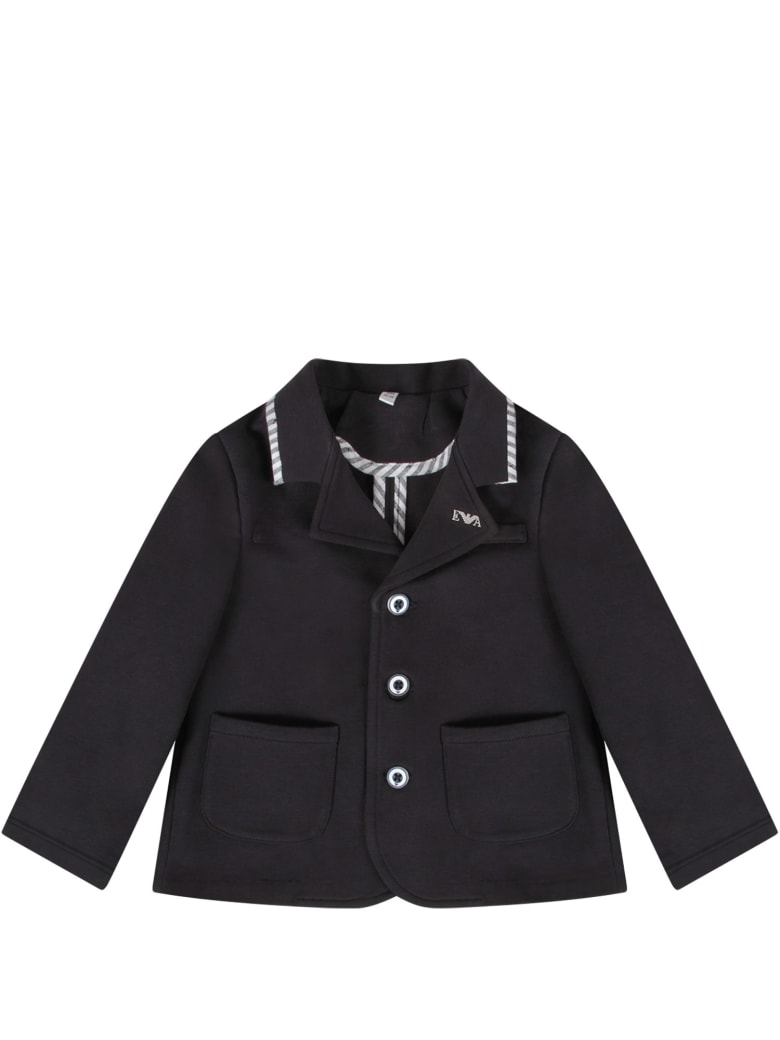 Armani Collezioni Blue Jacket For Baby Boy With Iconic Eagle - Blue