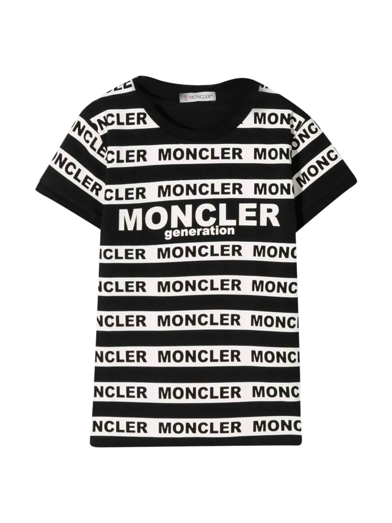 Moncler Black And White T-shirt With Logo Bands - Nero.