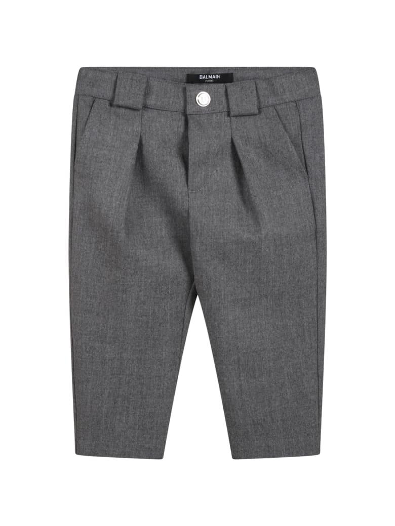 Balmain Gray Trousers For Baby Girl - Grey