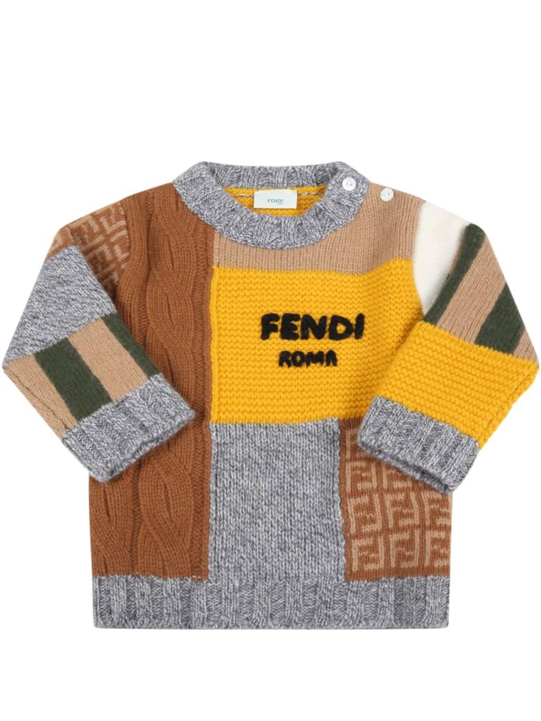 Fendi Multicolor Sweater For Baby Boy With Black Logo - Multicolor