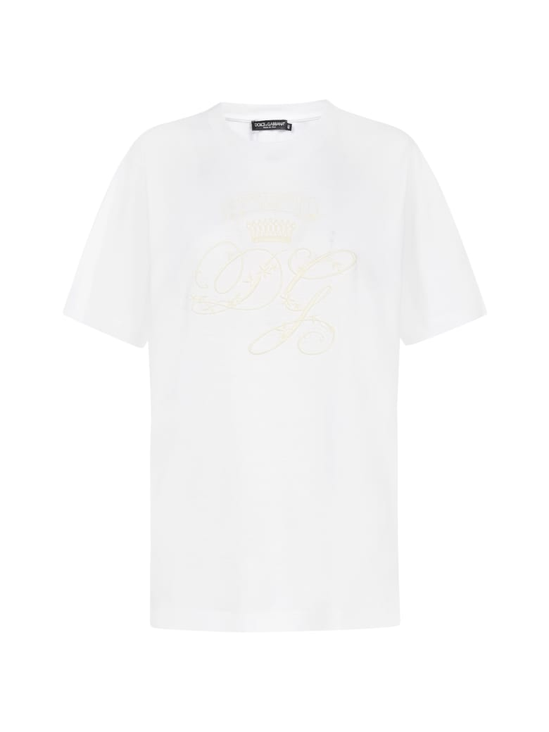 Dolce & Gabbana Embroidery Logo Cotton T-shirt - Bianco ottico