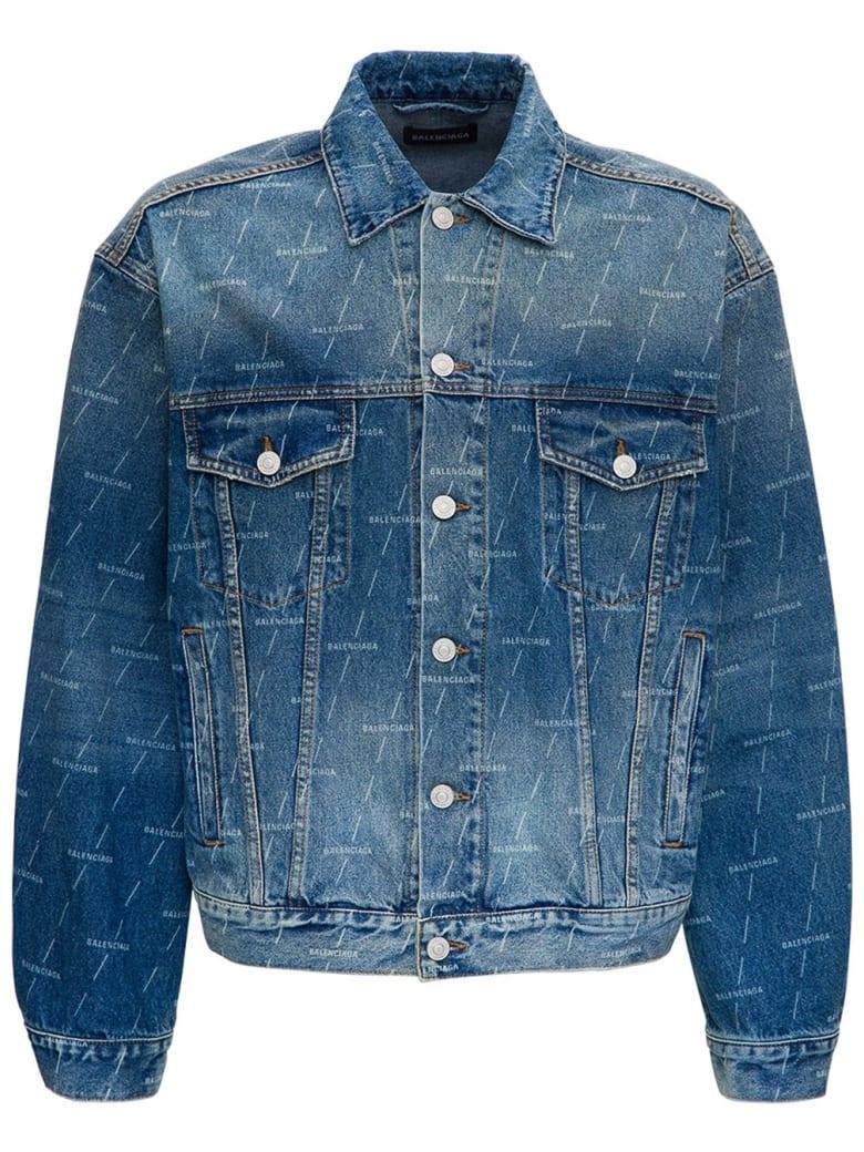 Balenciaga Denim Jacket With Allover Logo - Blu
