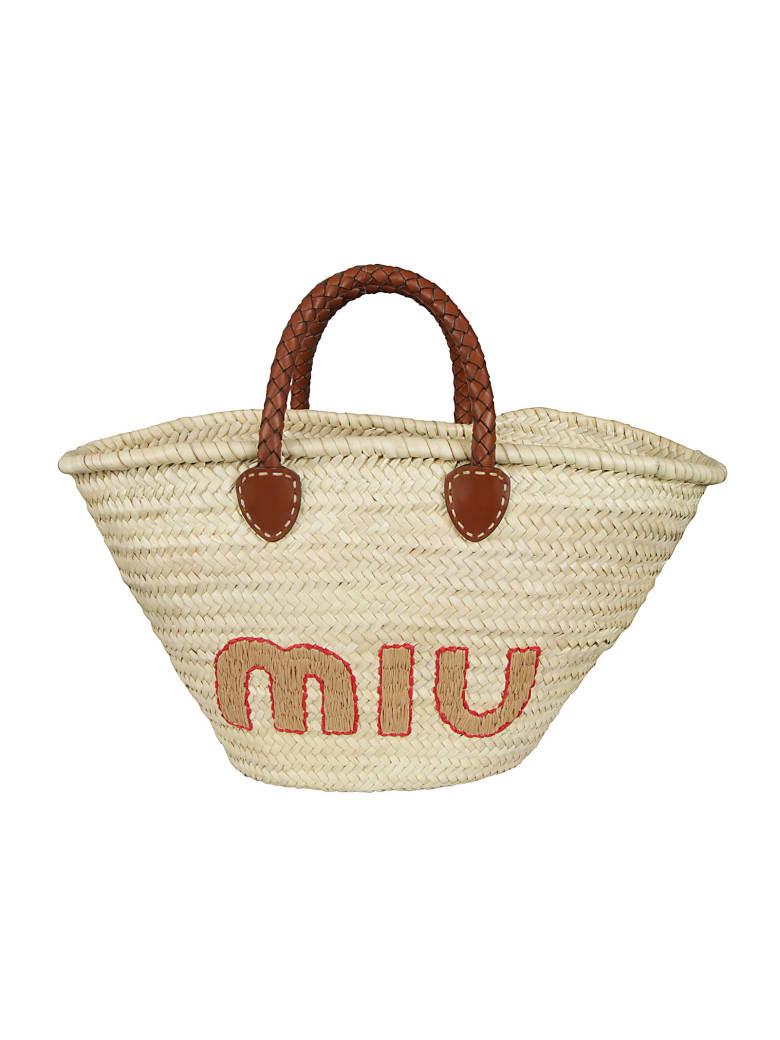 Miu Miu Logo Embroidered Basket Tote - Natural