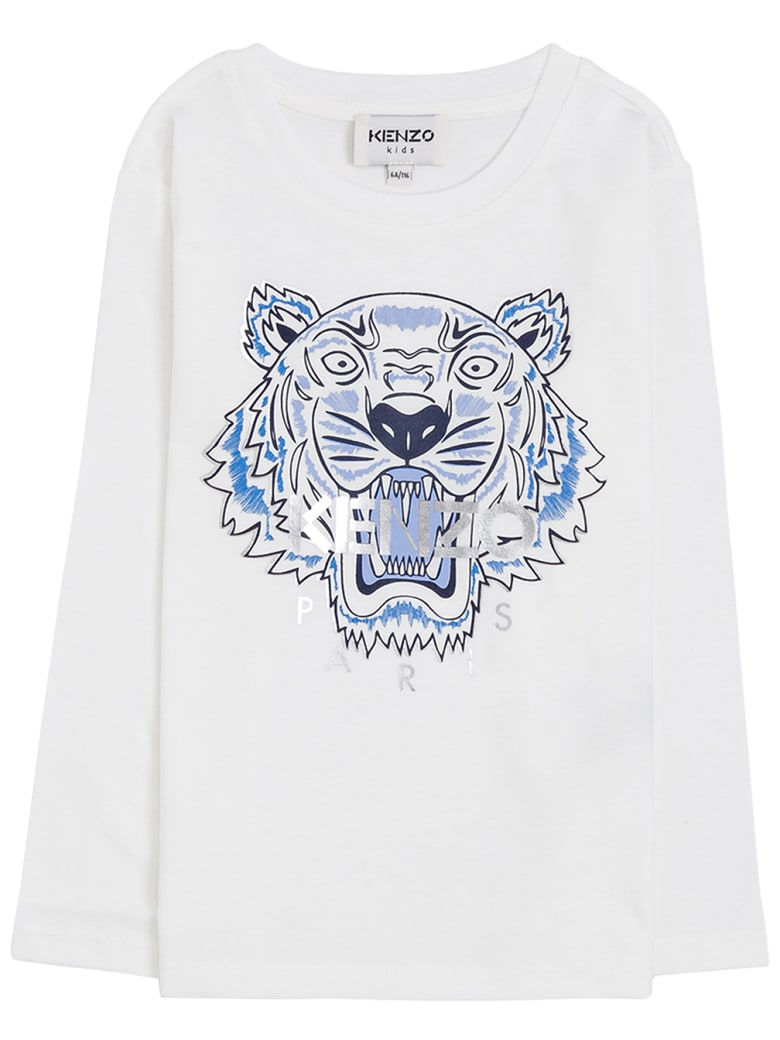 Kenzo Kids Long Sleeved T-shirt With Tiger Print - White