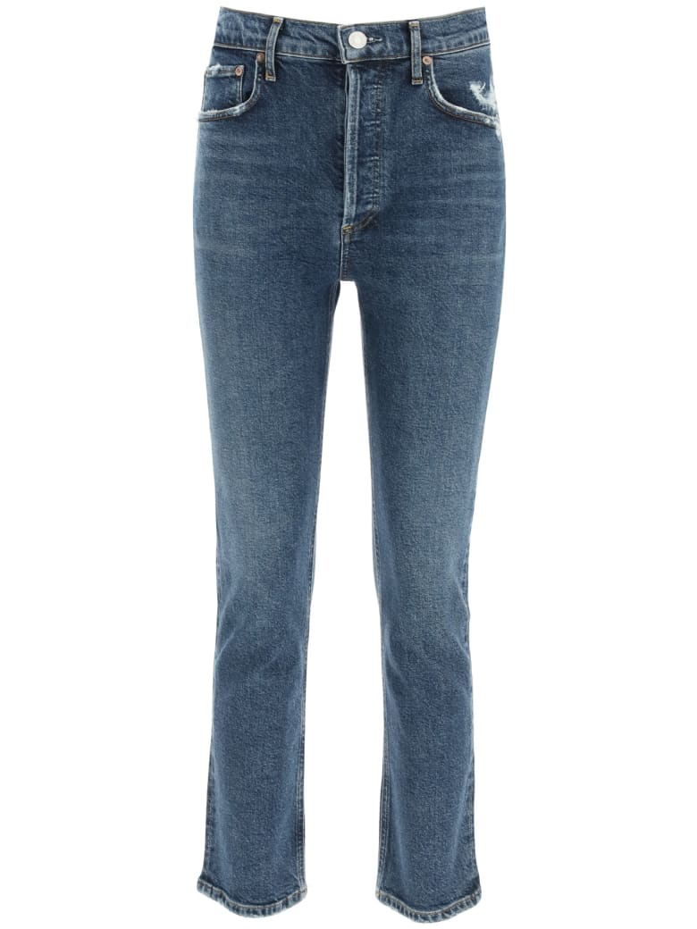 AGOLDE Riley High Rise Straight Crop Jeans - PAS TIME (Blue)