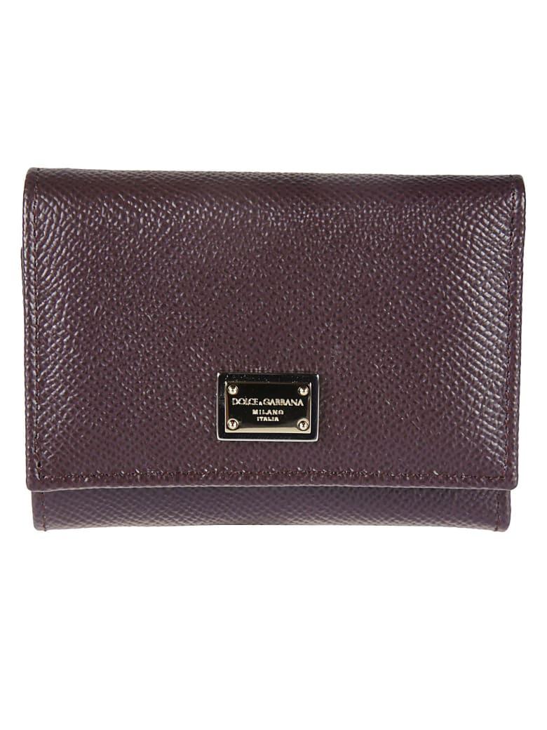 Dolce & Gabbana Logo Plaque Snap Buttoned Wallet - Bordeaux