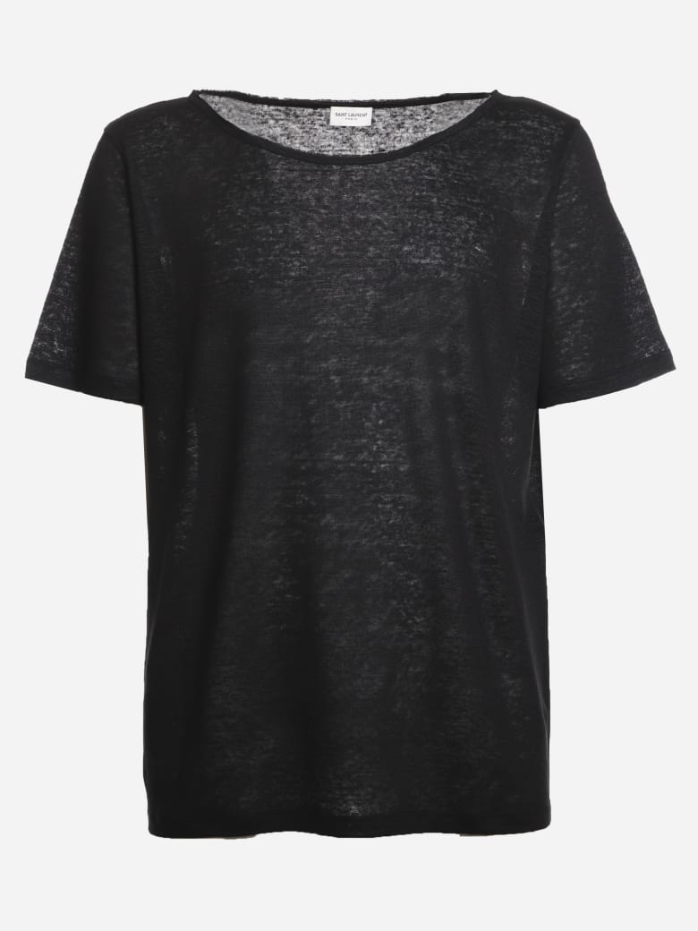 Saint Laurent Semi-transparent Linen T-shirt - Black