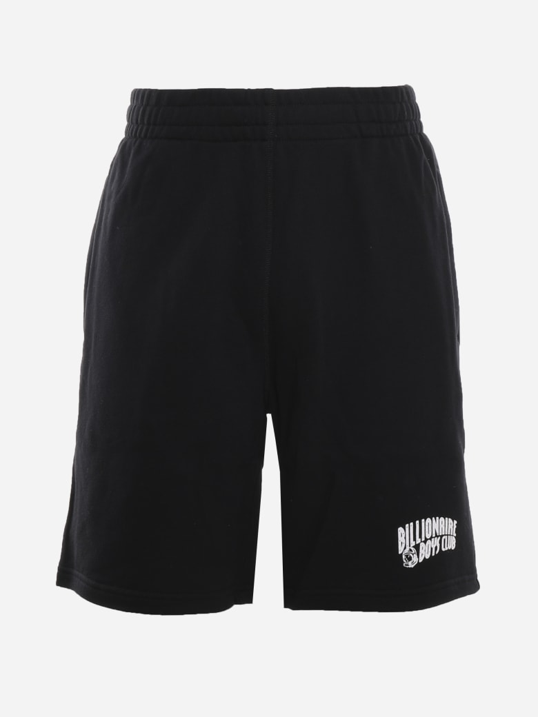Billionaire Cotton Shorts With Logo Patch - BLACK