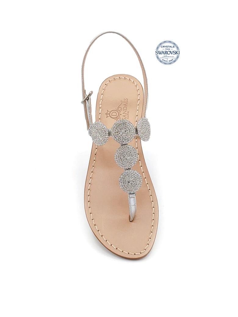 Dea Sandals Fari Di Capri 5c Jewel Thong Sandals - silver, natural crystal