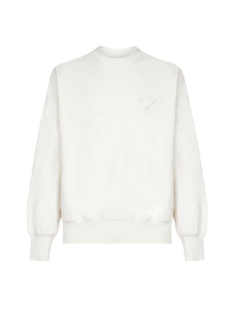 Prada Logo-patch Cotton Sweatshirt - Naturale
