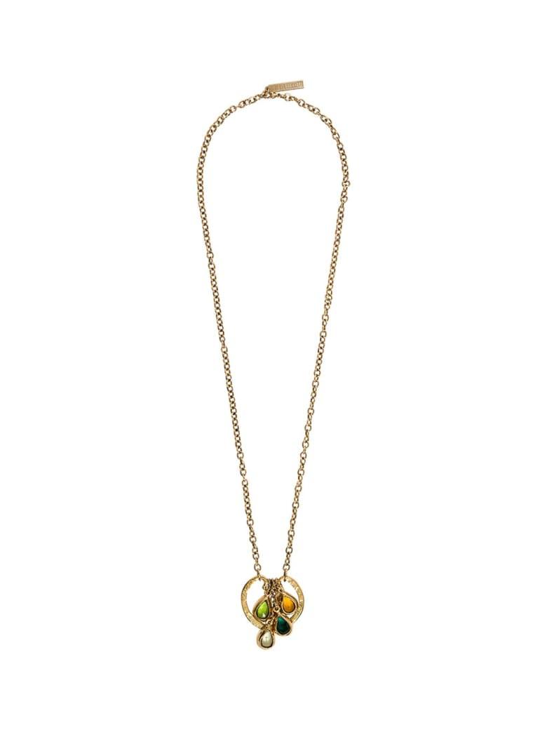 Alberta Ferretti Gold-colored Metal Necklace With Multicolor Crystals - Metallic