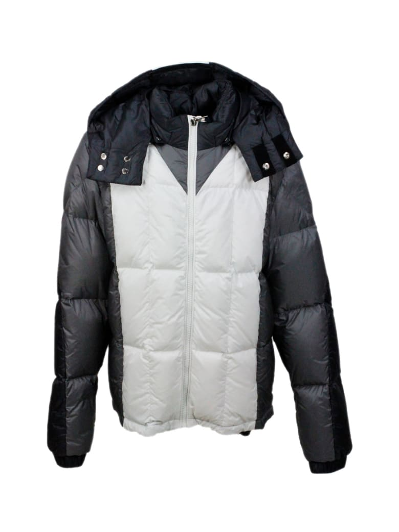 Moncler Down Jacket 100 Grams Alifhotes With Detachable Hood And Writing On The Hood - Grey