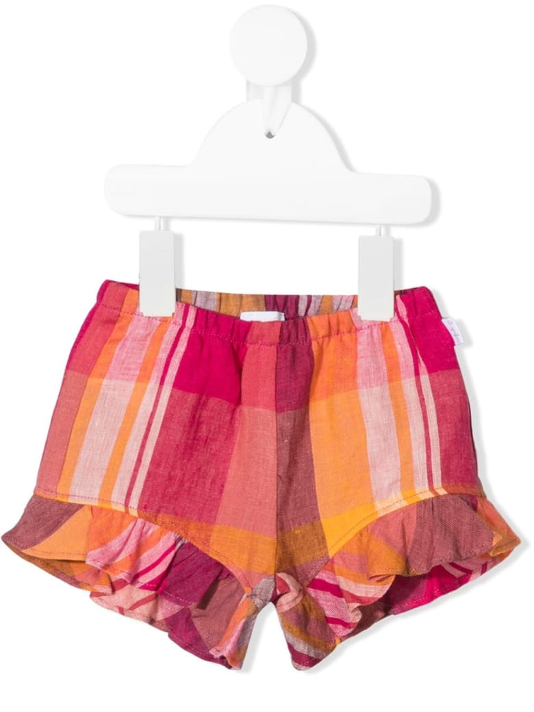 Il Gufo Pure Linen Checked Shorts With Ruffles
