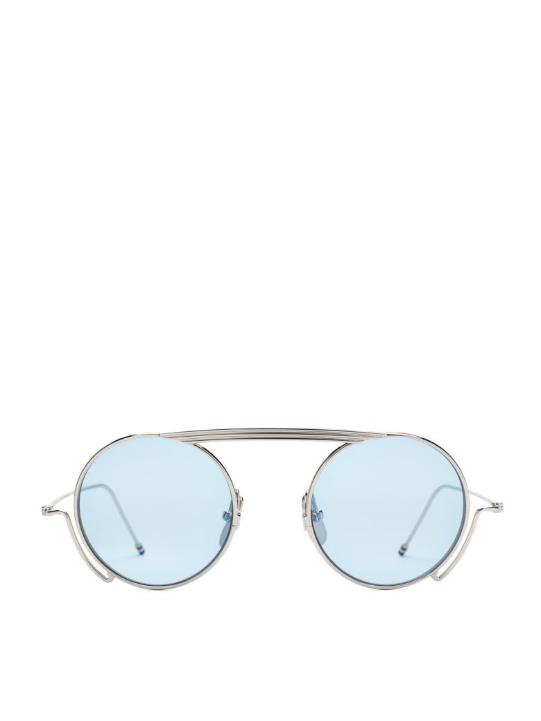 Thom Browne Cooper Tbs111 Sunglasses - SILVER LIGHT BLUE (Silver)