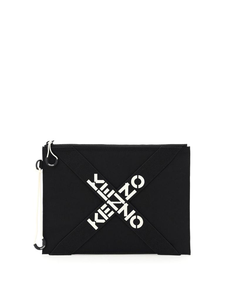 Kenzo Large Pouch Cross Logo - BLACK (Black)