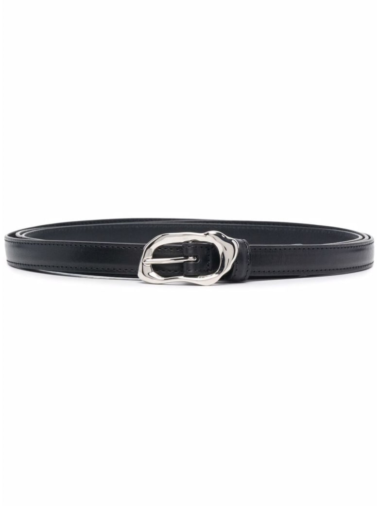 Alexander McQueen Long Black Belt In Fused Metal Effect Leather - Black