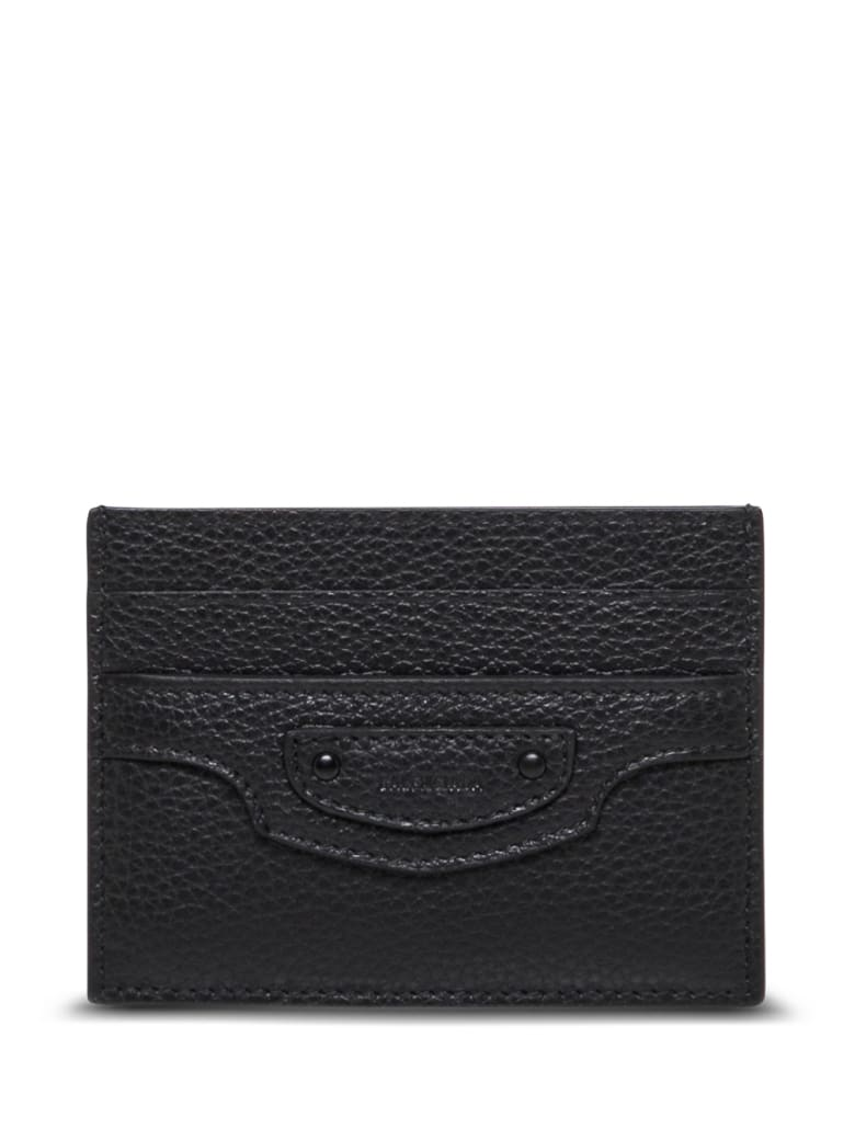 Balenciaga Grained Leather  Cardholder With Logo - Black