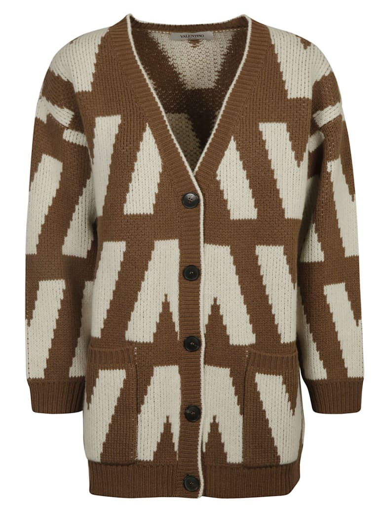 Valentino V-neck Buttoned Cardigan - Brown/Whit