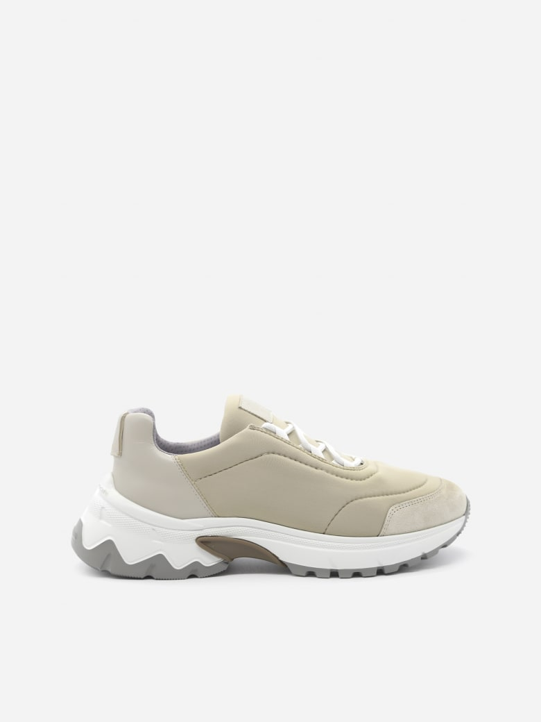 Eleventy Leather Sneakers With Contrasting Inserts - Sand