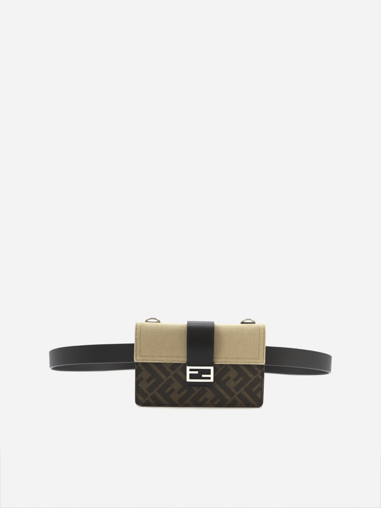 Fendi Baguette Pouch In Fabric With Ff Motif - Brown