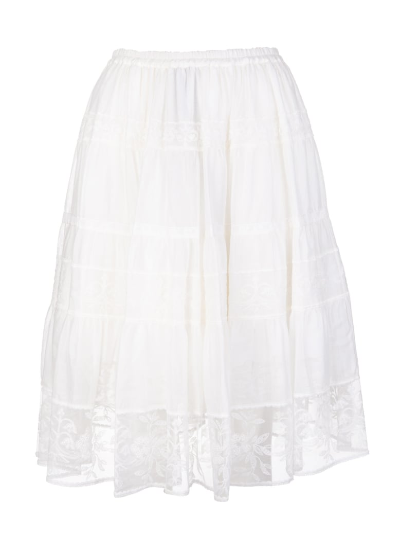 Ermanno Scervino White Flounced Skirt With Lace Inserts