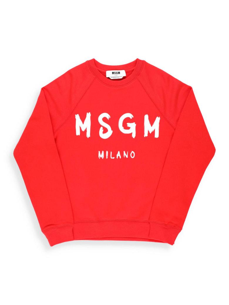 MSGM Logo Cotton Sweatshirt - STRAWBERRY RED
