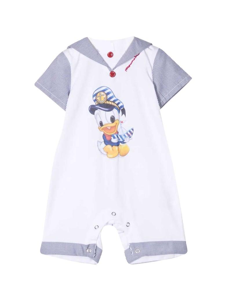 Monnalisa Donald Duck Print Jumpsuit - Bianco/blu
