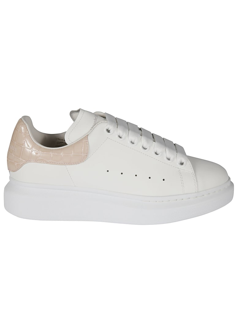Alexander McQueen Woman White And Crocodile Effect Oversized Sneakers - Rosa