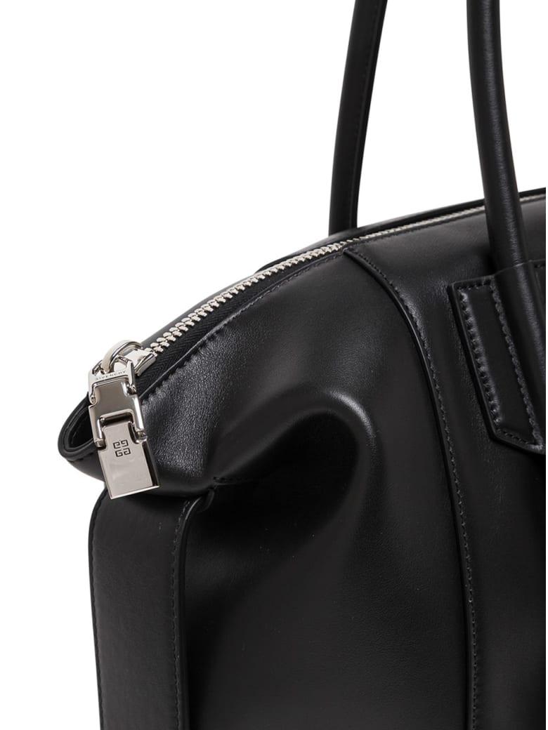 Givenchy Antigona Soft Lock Handbag In Black Leather - Black