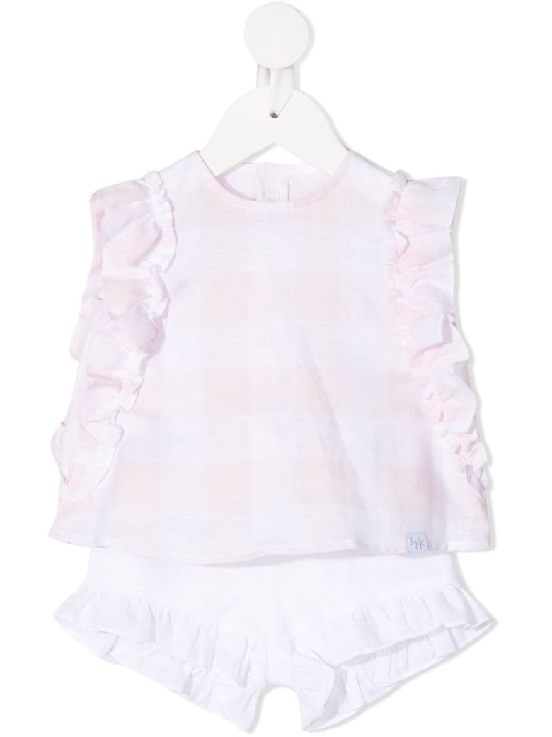 Il Gufo Newborn Two-piece Suit In Pearl Pink Vichy Linen - Rosa