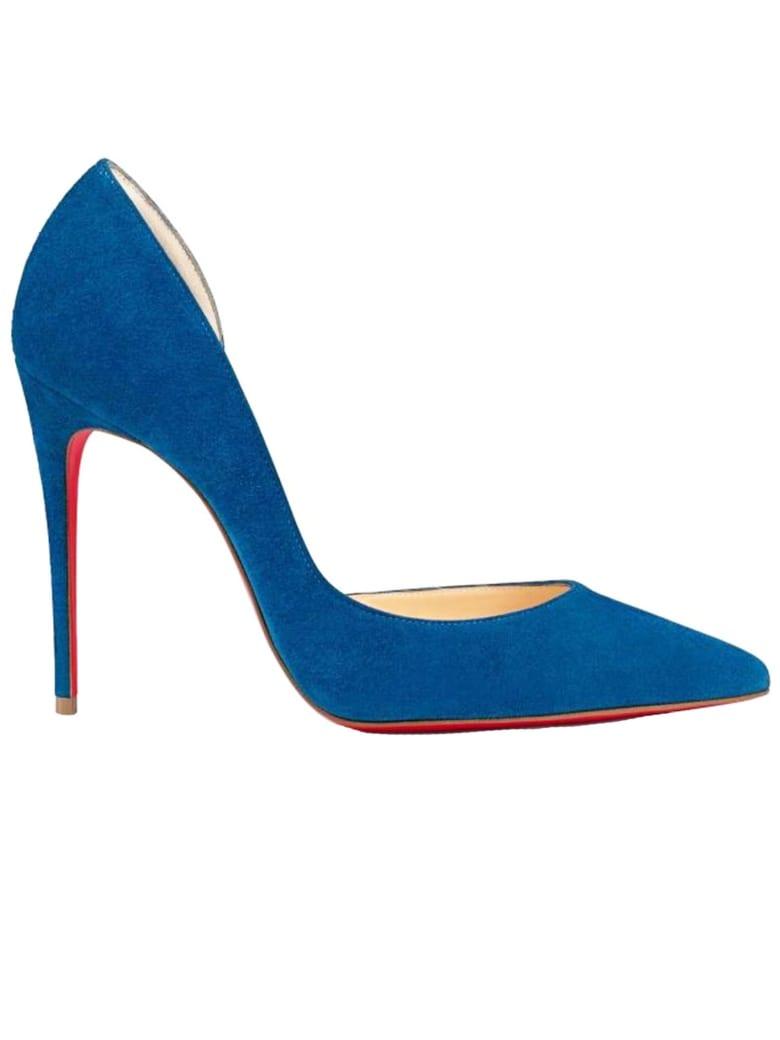 Christian Louboutin Blue Suede Iriza 100 Pumps - BLUE