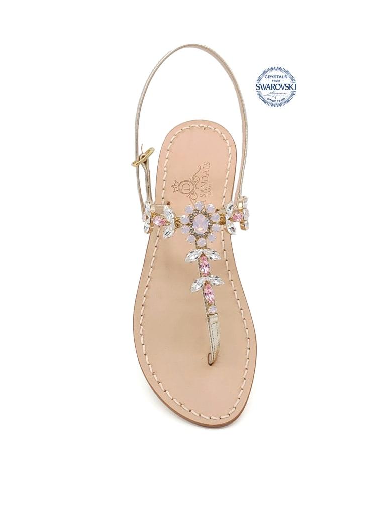 Dea Sandals Marina Grande Flip Flops Thong Sandals - gold, crystal, pink