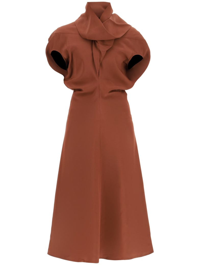 Colville Dress With Scarf - CHESTNUT (Brown)