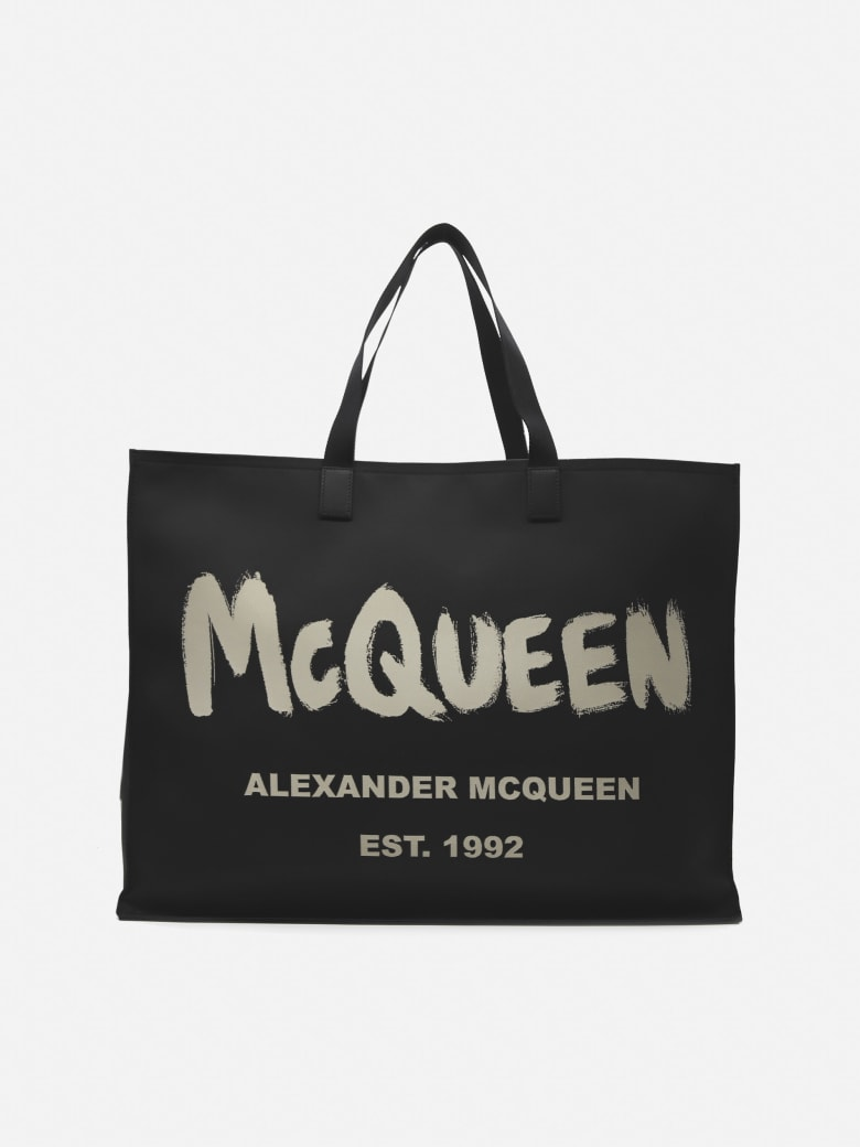 Alexander McQueen East West Tote Bag In Nylon With Graffiti Print - Black