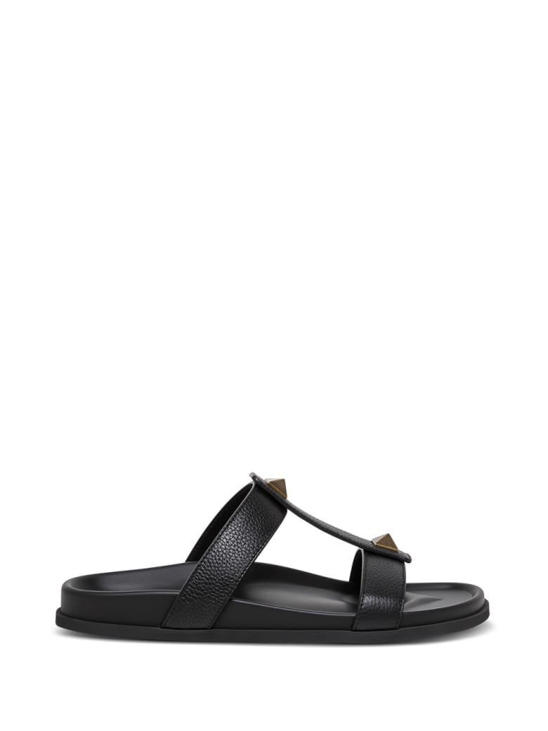 Valentino Garavani Roman Stud Slide Sandals In Black Leather - Black