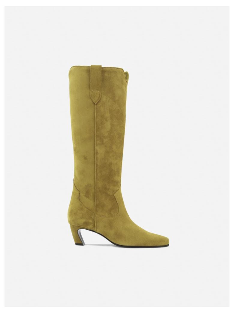 Aldo Castagna Belen Velor Boots In Suede - Mustard