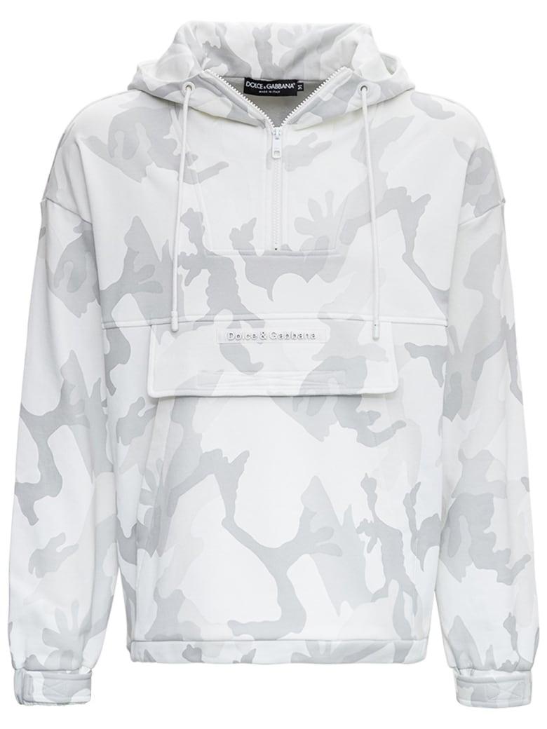Dolce & Gabbana Camouflage Cotton Hoodie - White