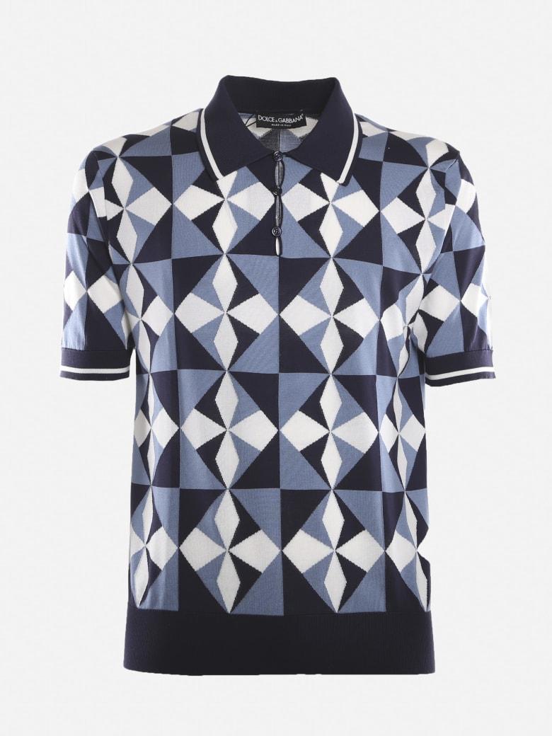 Dolce & Gabbana Silk Polo Shirt With Inlay Majolica Print - Blue
