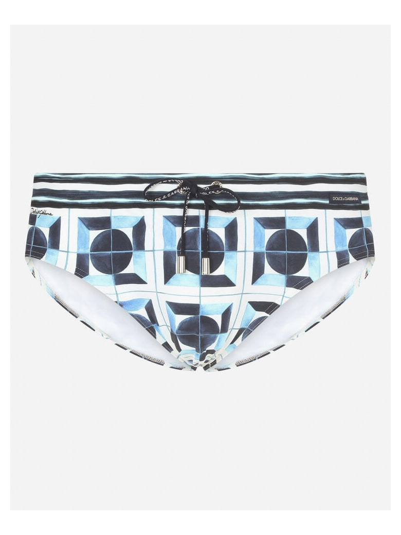 Dolce & Gabbana Swimsuit With Majolica Print - White, blue