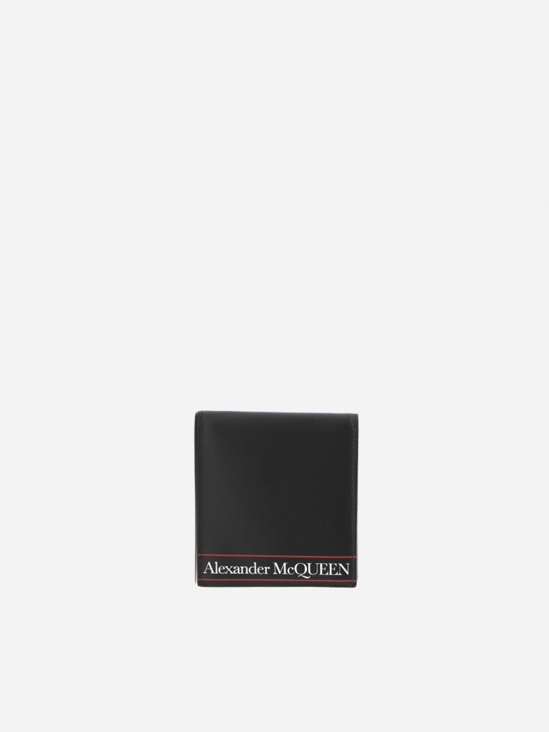 Alexander McQueen Bifold Wallet In Leather With Contrasting Logo Print - Black