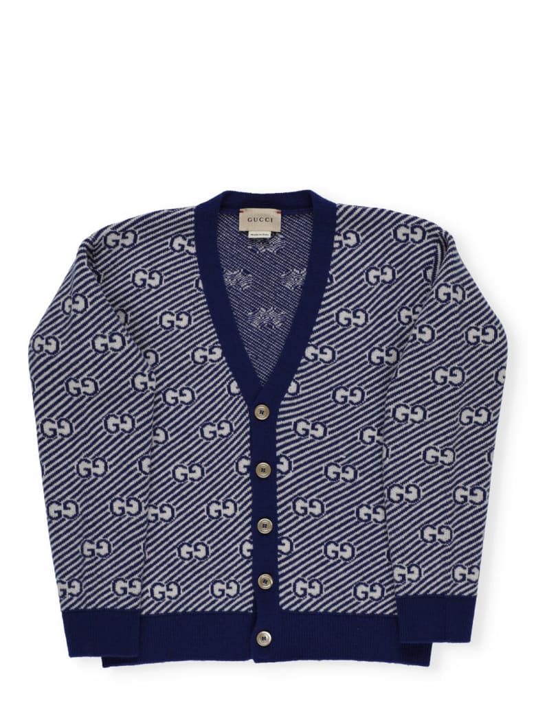 Gucci Wool Cardigan - BLUE/WHITE
