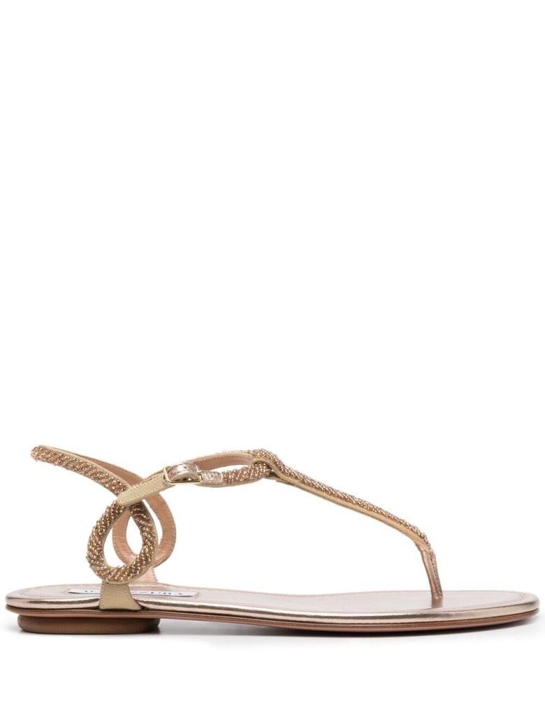 Aquazzura Flat Sandals With Beads Detail - Beige